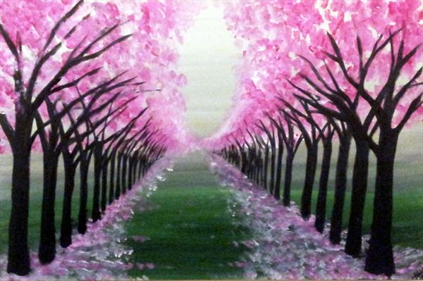 Path of Blossom Trees