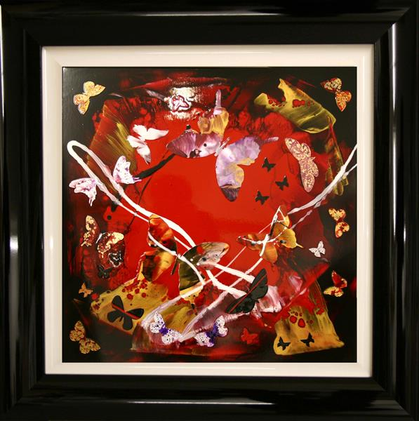 Butterfly cascade( framed, collage) on display at the Art Gallery, Tetbury by Paresh Nrshinga