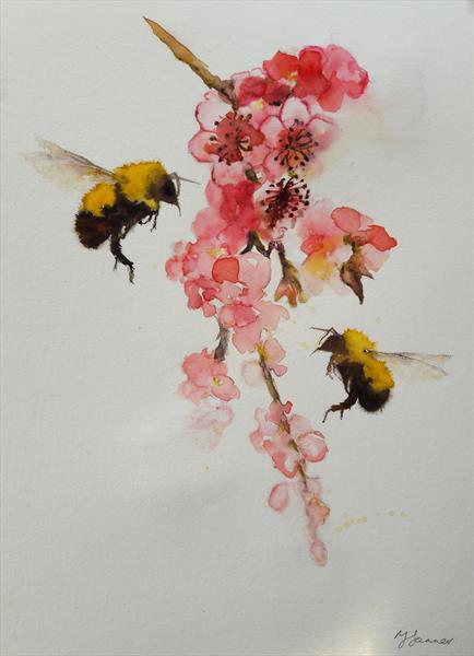 Bees & Cherry Blossom by Teresa Tanner