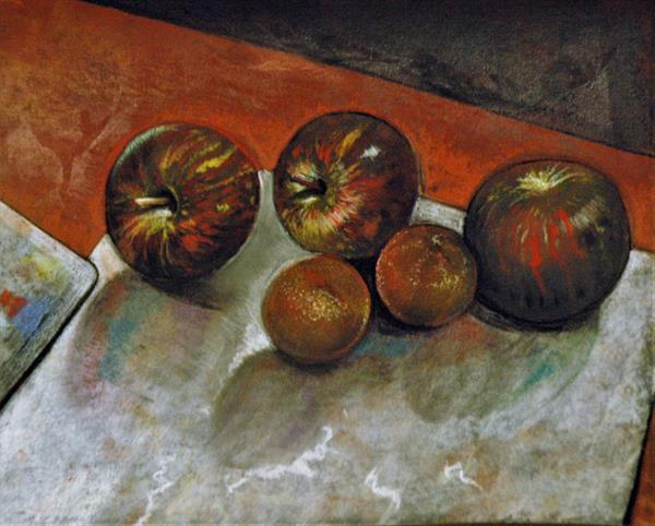 Still Life with Apples and Tangerines by adrian parker
