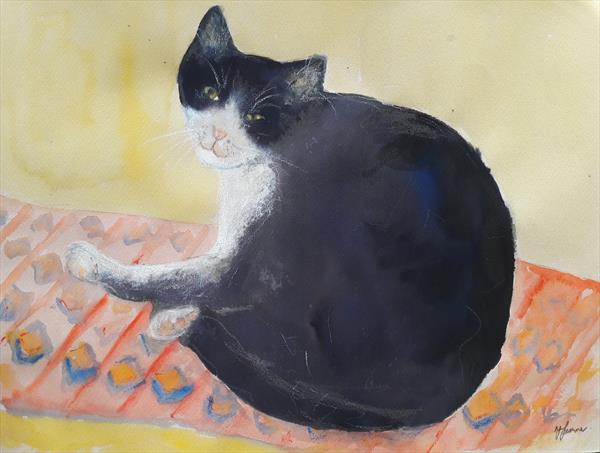 Sleepy Cat on rug by Teresa Tanner