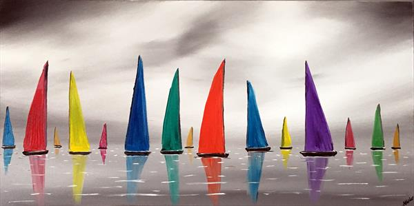 Stormy Colourful Sails 2 by Aisha Haider