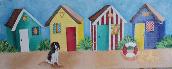 Dog With Beach Huts No1