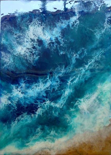 "Resin Painting Seascape ""Waves"""