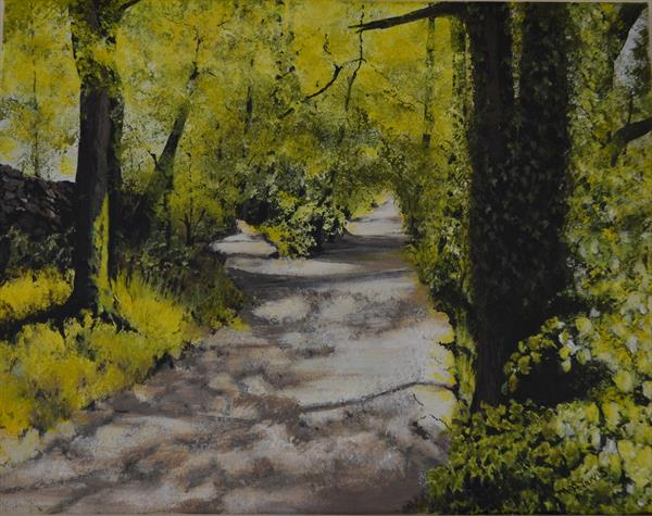 Shady Walk To Skelwith Bridge by Margaret Jarvis