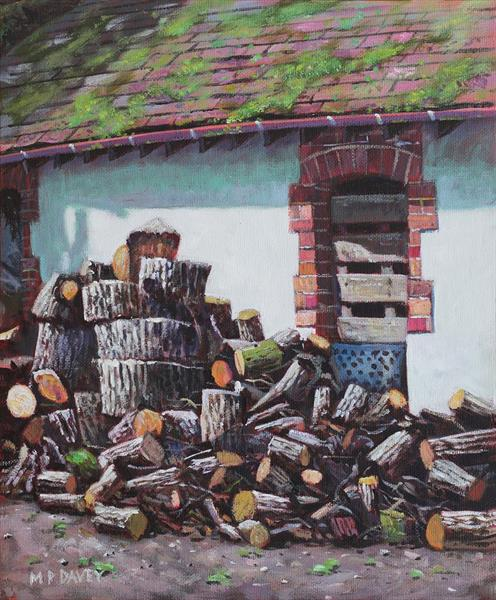 Barn With Log Pile by Martin  Davey