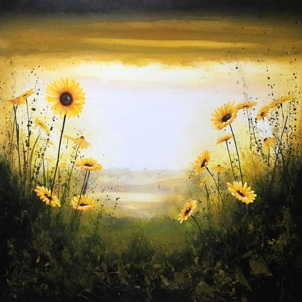 Sunflowers Sunset Landscape by Beatrice   Cawood