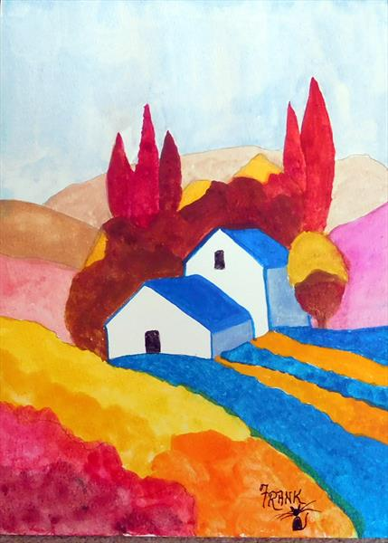 A Small Hamlet (UNFRAMED) by Frank Crompton