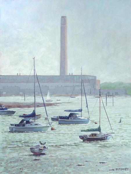 Boats At Fawley Hampshire by Martin  Davey