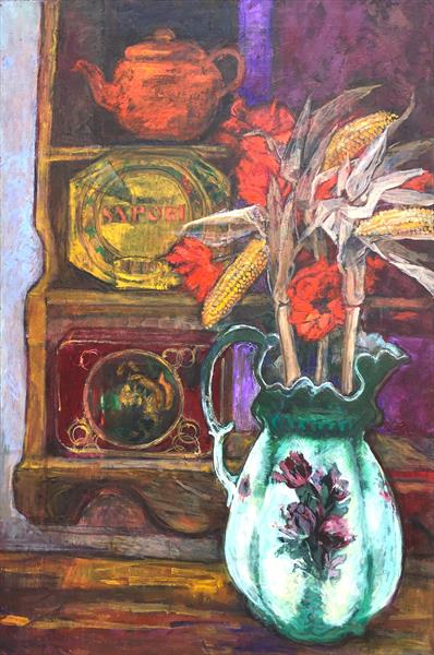 Victorian jug with sweetcorn still life by Patricia Clements