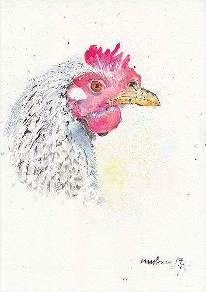 Speckled hen - watercolour and ink  by Luci Power
