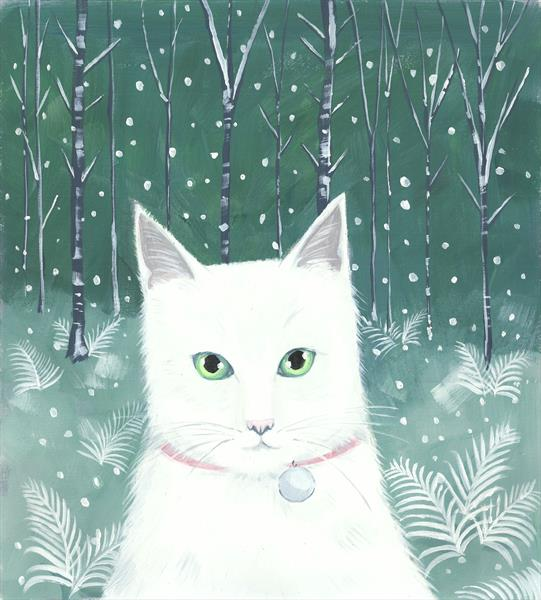Snow Cat in a forest by Mary Stubberfield