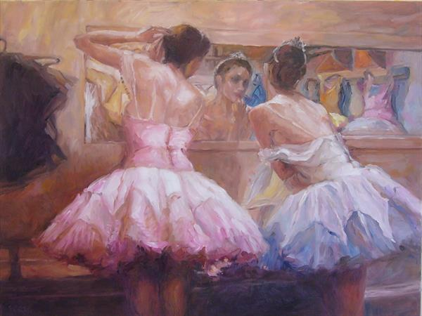 Prima ballerinas preparing for the stage