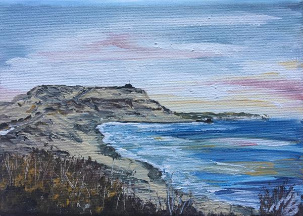 Hengistbury Head on a mini canvas by Marja Brown