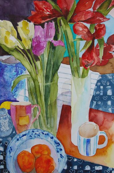 Still Life With Amaryllis by Caroline Kaye