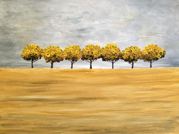 Abstract Yellow Trees by Patricia Richards