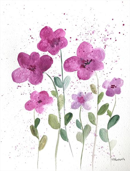 Pink flowers illustration  by Monika Howarth