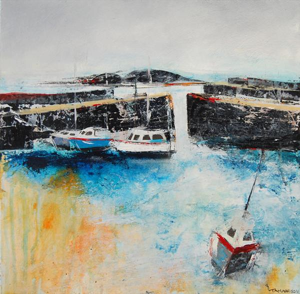 Boats in Mousehole Harbour by Tracy - Ann Marrison