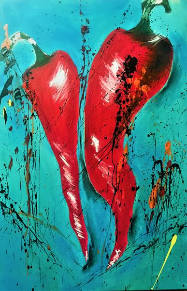 Red Hot Dancing Chilli Peppers by Anna Maria Ratusz