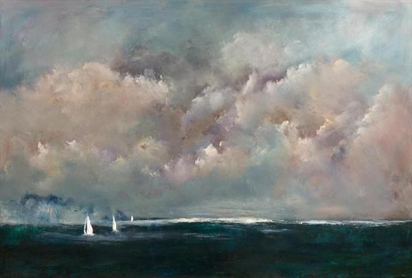 Yachts Approaching The Coast Seascape  by Maxine Martin