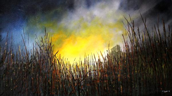 Awakening Lights - Large original landscape painting  by Cecilia Frigati