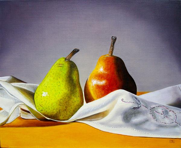 2 pears on cloth by Jean-pierre Walter