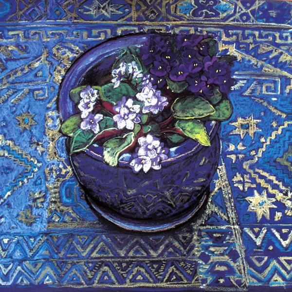 African violet flowers still life on blue patterned cloth by Patricia Clements