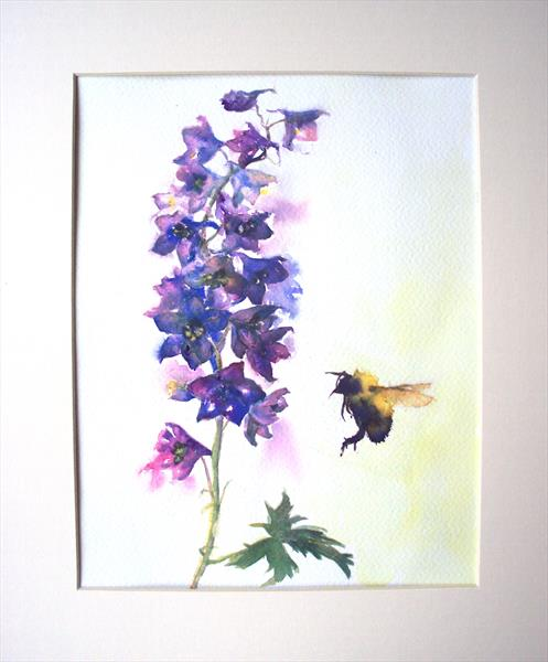 Bumble Bee Delphinium by Teresa Tanner