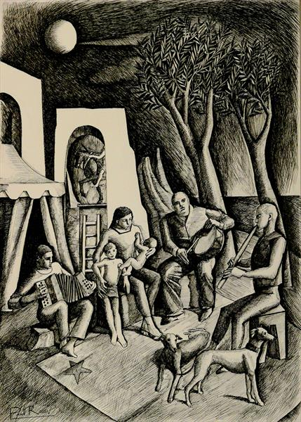 Mother and Children in Archaic Landscape by Paul Rossi