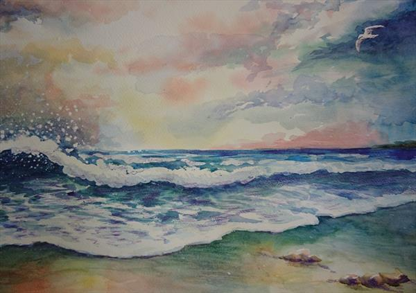 Summer holiday beach storm waves seagull Watercolour Artist paper Winsor & Newton A2 by Elena Haines