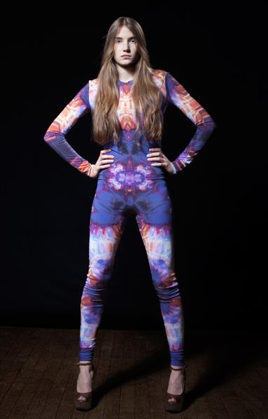 Catsuit With Purple Kaleidoscope Textile Print by Elisabeth Grosse