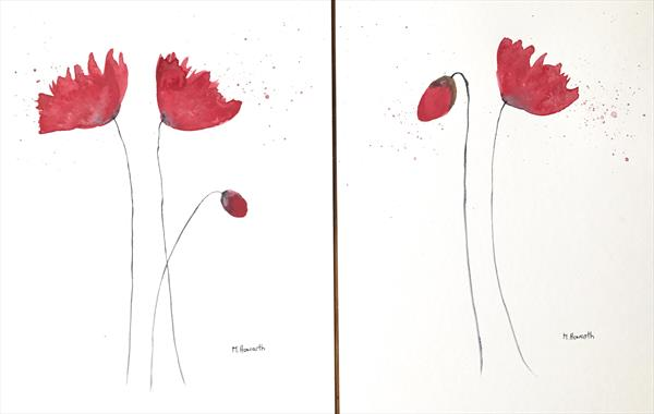 Red poppies flowers nr 5 (set of 2) by Monika Howarth