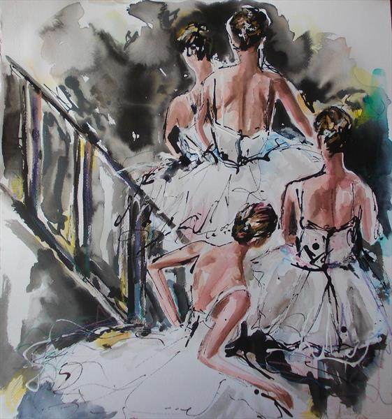 Going on Stage - Ballerina Watercolor Mixed Media Painting by Antigoni Tziora