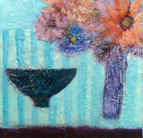 Still Life With Vase of Flowers and Bowl by Caroline Kaye