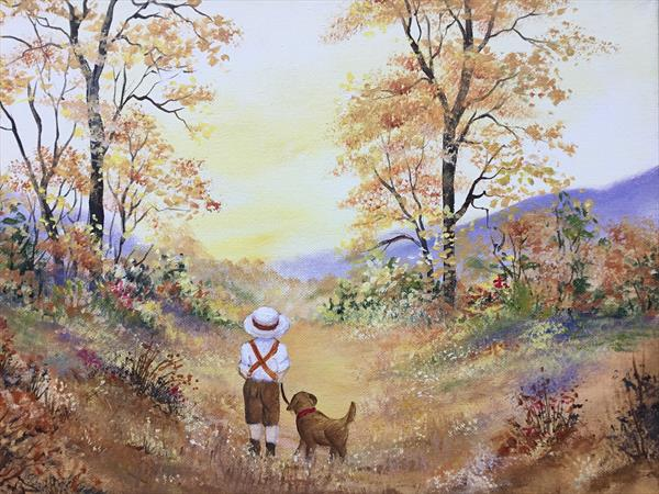 Walking with my Best Friend. Acrylic on box canvas  by Pamela West