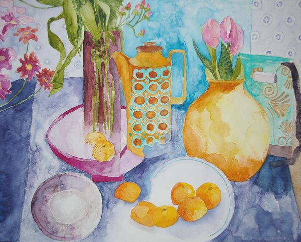 Still Life With Coffee Pot by Caroline Kaye