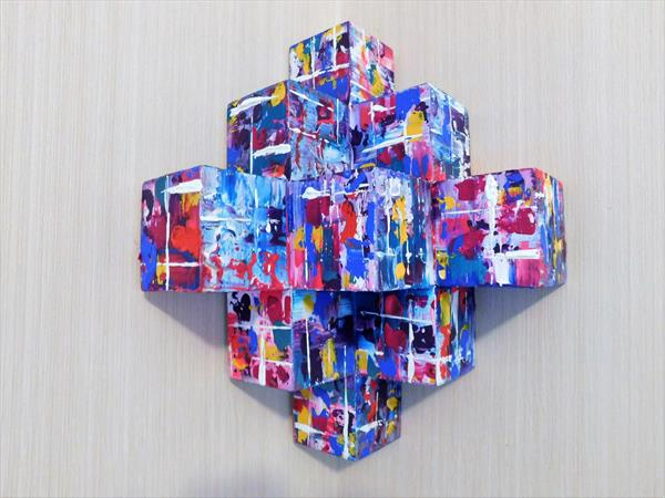 Colour Ovation 3D Sculptural Painting on Wood by susan wooler
