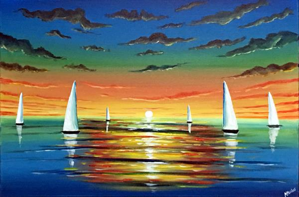 White Sunset Sails 2 by Aisha Haider