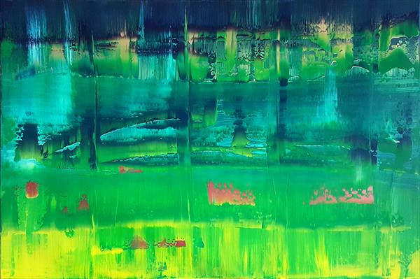 A bridge to other side - large green and golden abstract painting by Ivana Olbricht