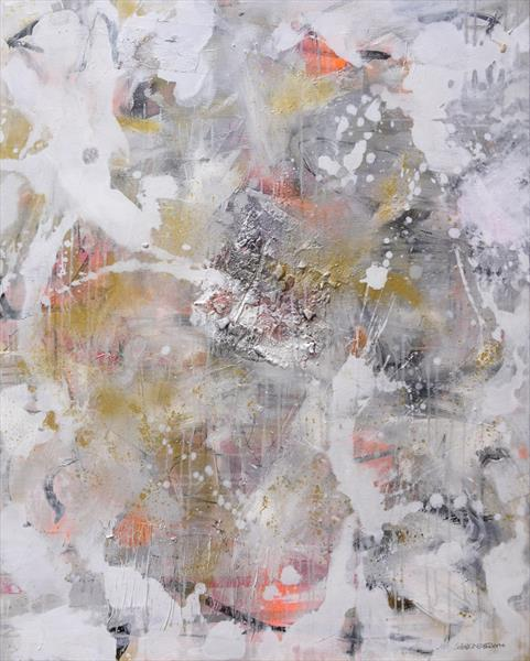 Interstellar Dust | large abstract painting | white gold silver grey black by Daniela Schweinsberg