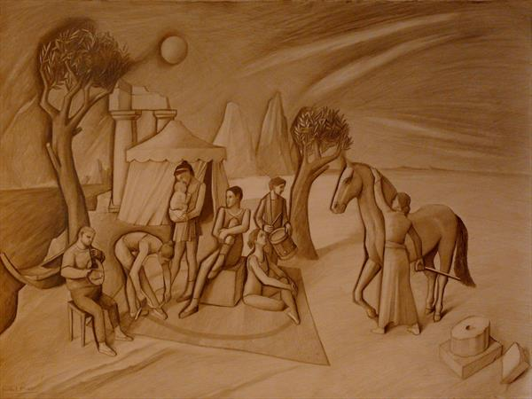 Musicians and Acrobats in Archaic Landscape II by Paul Rossi
