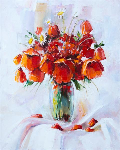 Red poppies in vase by Inna Stone