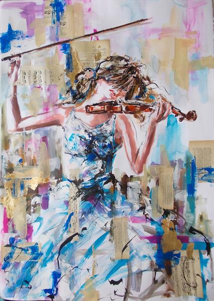 Allegro- Woman violinist acrylic mixed media painting on paper by Antigoni Tziora