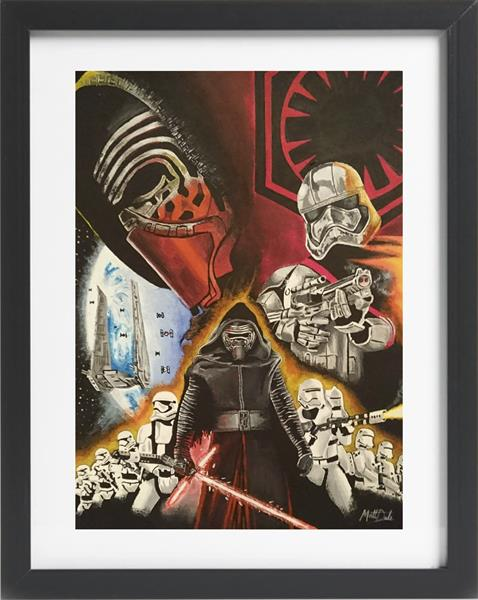 Star Wars The Force Awakens Acrylic Painting with Frame of Kylo Ren and Storm Troopers by Matt Dale