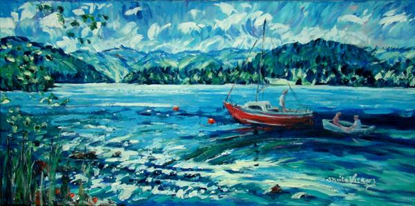 Ullswater sparkle and red boat by Sheila Vickers