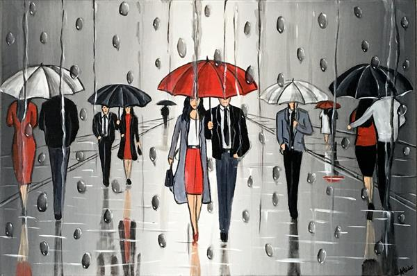 Umbrellas And The Rain by Aisha Haider