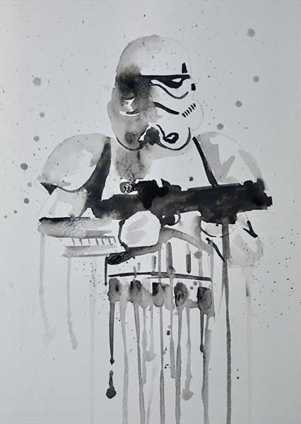 Star Wars Storm Trooper watercolour painting A4