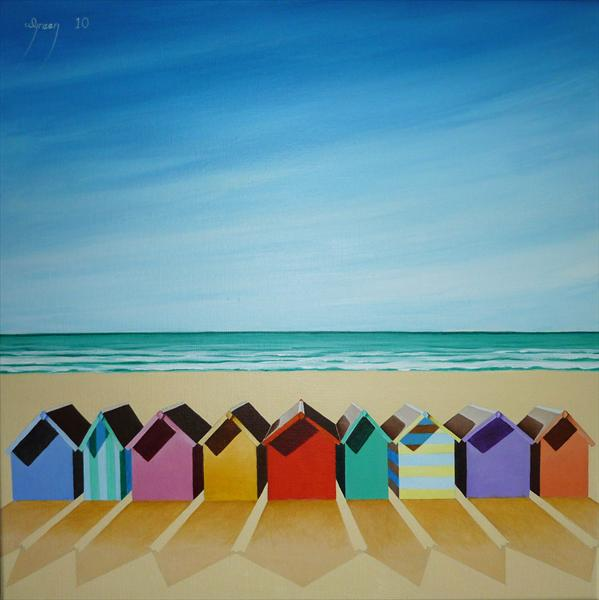 Beach Huts Facing Out To  Sea by Warren Green
