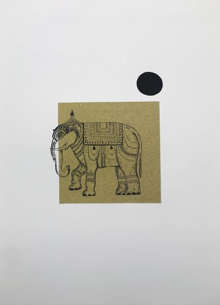 Asian Elephant print on recycled elephant poo paper! by Aasiri Wickremage
