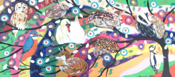 Colourful Sparkly Tree of Life with Animals by Casimira Mostyn